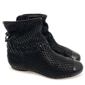 Chanel Black Leather Perforated Cap Toe Ankle Booties (Size 37.5 EU, 7.5 US)